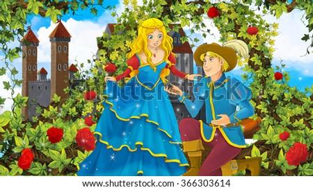 Cartoon romantic scene with royal pair - illustration for the children - stock photo