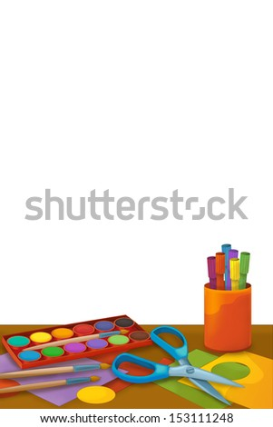 Cartoon room with school supplies - illustration for the children