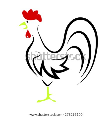 Cartoon Rooster Isolated on White Background for Your Design - stock photo