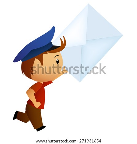 Cartoon running postman with letter in hand isolated on white