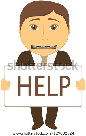 cartoon sad man with mouth closed with a zipper asks for help - stock photo