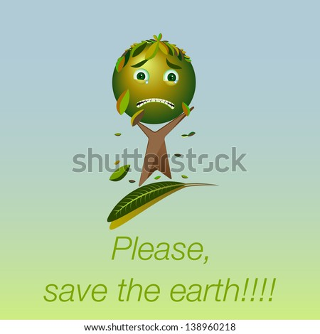 Cartoon sad tree - Please, save the earth - stock photo