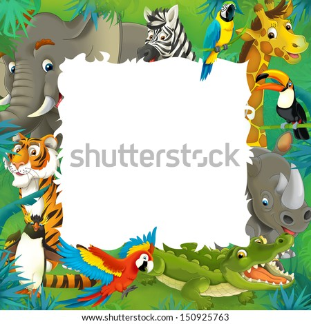 Cartoon Safari Jungle Frame Border Template Stock Illustration ...