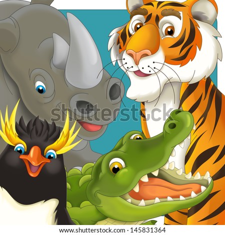Cartoon safari - tropical - icon - illustration for the children - stock photo