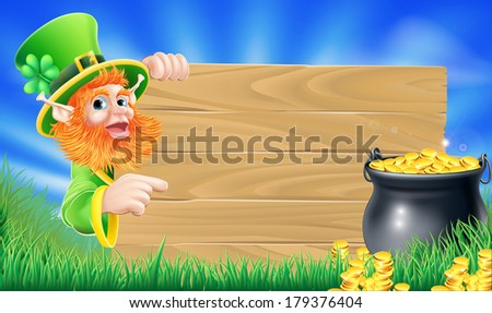 Cartoon Saint Patricks day leprechaun pointing at a sign wood sign with shamrock in his hat and a pot of gold - stock photo