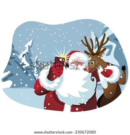 Cartoon Santa Claus and reindeer take a selfie  - stock photo