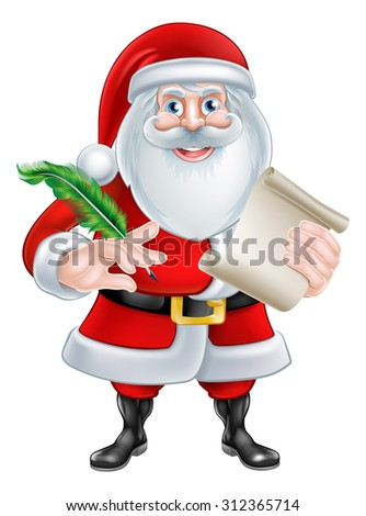 Cartoon Santa Claus with his Christmas list scroll or letter holding a quill pen - stock photo