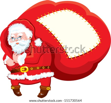 Cartoon Santa Claus with huge sack full of gifts - Christmas and New Year illustration isolated on white background. Empty space for text. Raster version - stock photo