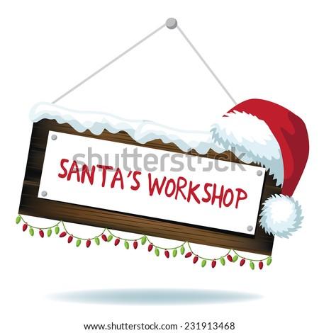 Cartoon Santas workshop sign isolated - stock photo