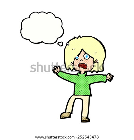 cartoon scared person with thought bubble - stock photo