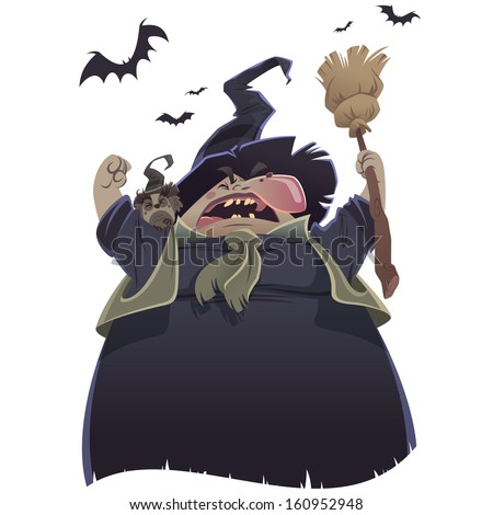 Cartoon scary witch with broom and owl yelling - stock photo