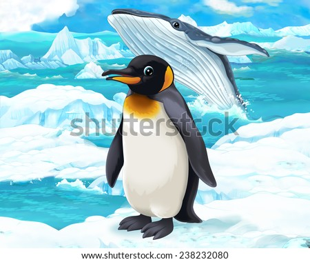 Cartoon scene - arctic animals - penguin and whale - illustration for the children - stock photo