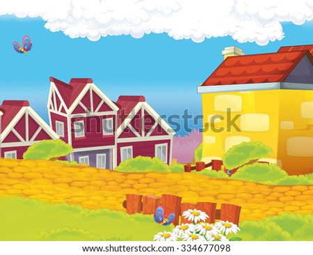 Cartoon scene - background - illustration for the children