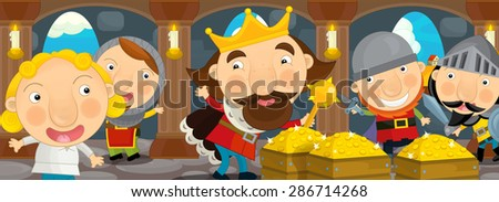 Cartoon scene - cheerful king and his knights being happy and servant or scribe in the castle hall - illustration for children