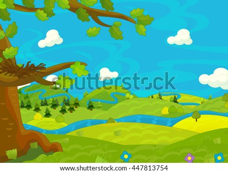 Cartoon scene for different usage - meadow with stream - empty nest - book or game - illustration for children