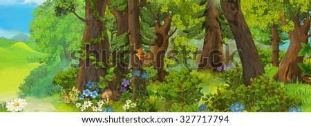 Cartoon scene for fairy tales - forest - illustration for the children - stock photo