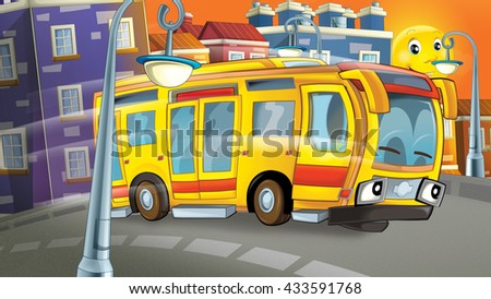 Cartoon scene of a bus driving through the city - illustration for children