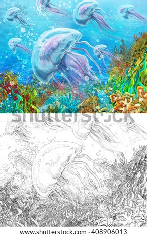 Cartoon scene of a coral reef with jellyfishes - with additional coloring page - illustration for children