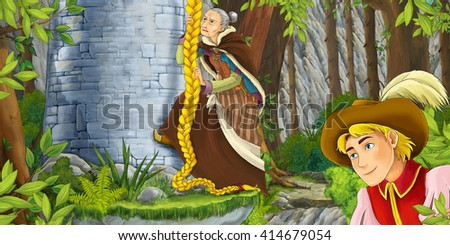 Cartoon scene of a nobleman watching like an old woman is climbing on the tower - illustration for children - stock photo