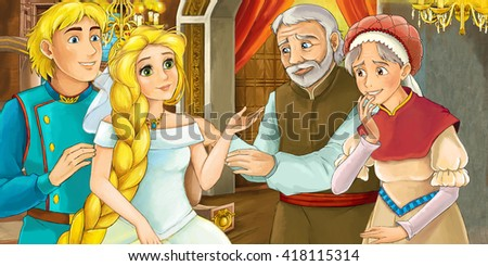 Cartoon scene of a prince and princess in the castle - parents blessing - illustration for children - stock photo