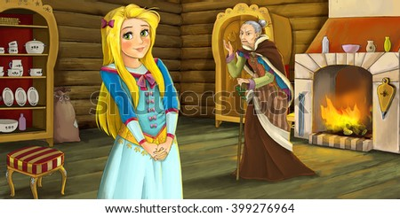 Cartoon scene of an young girl and old woman in wooden room - illustration for children - stock photo