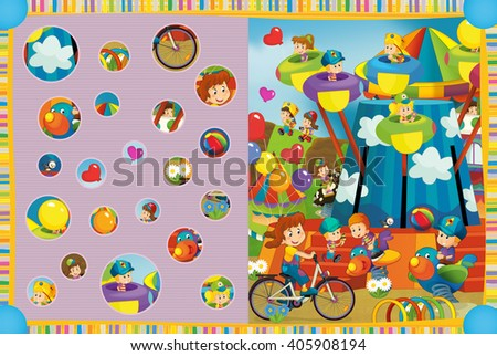 Cartoon scene of kids playing in the funfair - kids at playground - illustration for children - stock photo