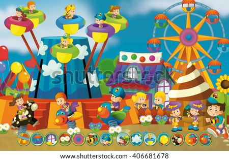 Cartoon scene of kids playing in the funfair - matching game - illustration for children - stock photo