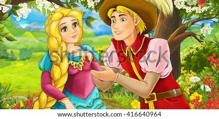 Cartoon scene of loving couple in the garden - illustration for children - stock photo