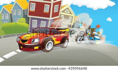 Cartoon scene of police pursuit - police motorbike chasing racing car - illustration for children