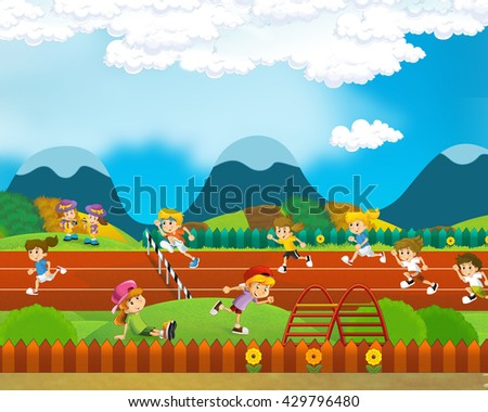 Cartoon scene of school kids running competition or training - illustration for children - stock photo