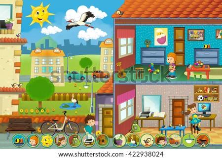 Cartoon scene on children at the playground - matching game - illustration for children - stock photo
