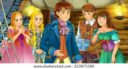 Cartoon scene on the ship - prince with his guests - illustration for the children - stock photo