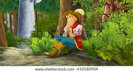 Cartoon scene with a horseman resting in the forest - illustration for children - stock photo