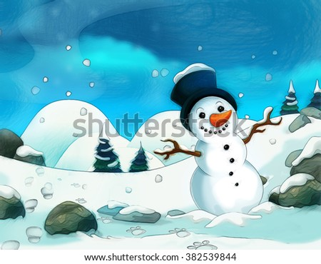 Cartoon scene with a snowman - with footsteps - background for different fairy tales - illustration for the children