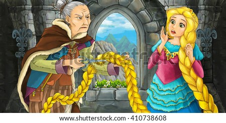 Cartoon scene with beautiful young girl and old woman talking - illustration for children - stock photo