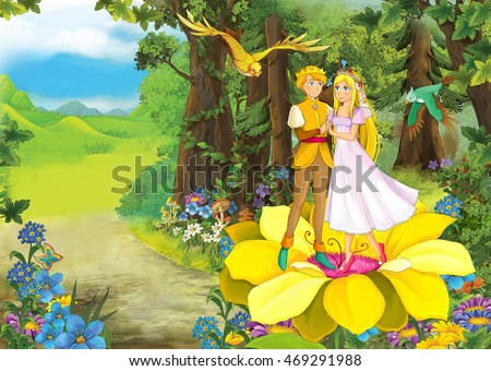Cartoon scene with cute princes in the forest - beautiful manga girl - illustration for children