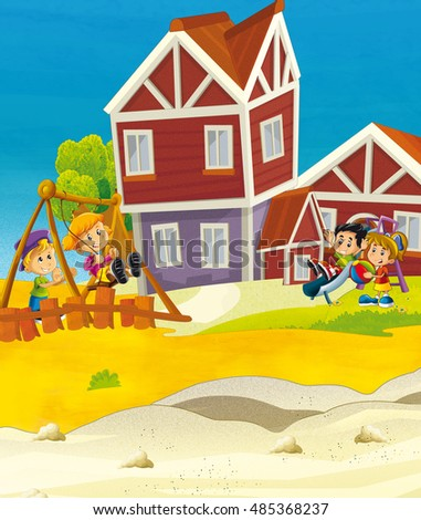 Cartoon scene with kids on the playground - illustration for children