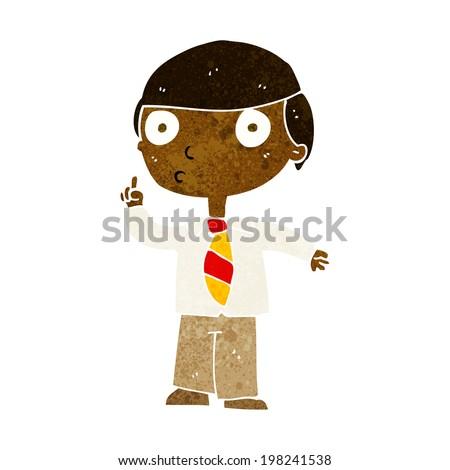 cartoon school boy - stock photo