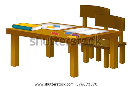 Cartoon school desk - isolated - illustration for the children