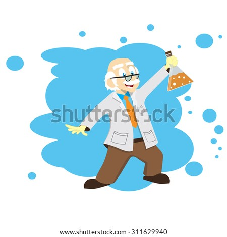 Cartoon scientist (doctor, professor) with a flask. Illustration. Science for kids. - stock photo