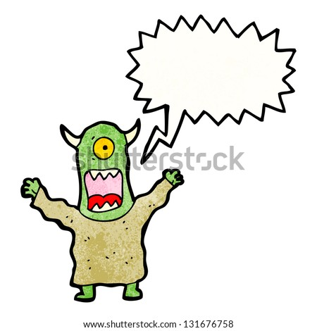 cartoon screaming monster - stock photo
