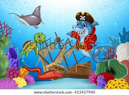 Cartoon sea animals with Shipwreck on the ocean - stock photo