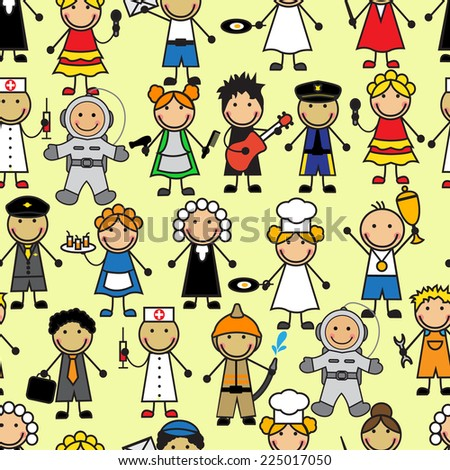 Cartoon seamless pattern with people of different professions