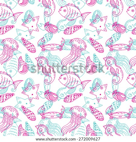 Cartoon seamless pattern with sea animals.