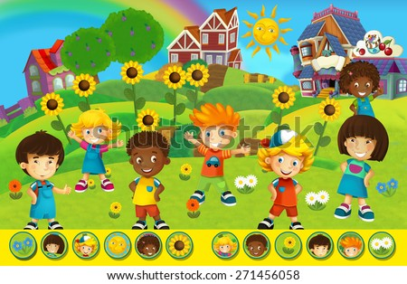 Cartoon searching game - illustration for the children - stock photo