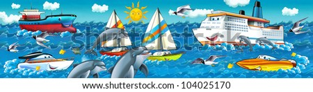 Cartoon seascape with different ships - stock photo
