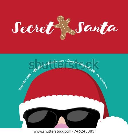 Cartoon Secret Santa Christmas Party Background Stock Illustration ...