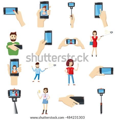 Cartoon selfie icons set. Universal selfie icons to use for web and mobile UI, set of basic selfie elements isolated  illustration