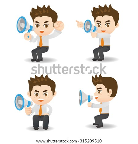 Cartoon set of Businessman sit and shout trumpet and megaphone - stock photo