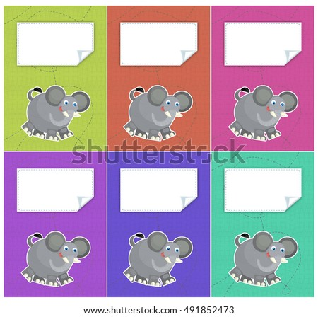 Cartoon set of colorful covers - with elephant - isolated - illustration for children